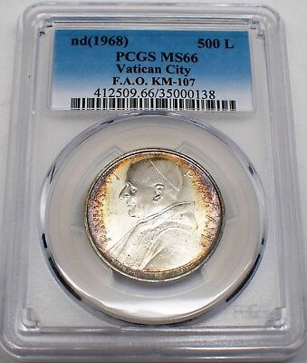 1968 Vatican City 500 Lire Silver Coin With Nice Color & Graded Ms66 By Pcgs