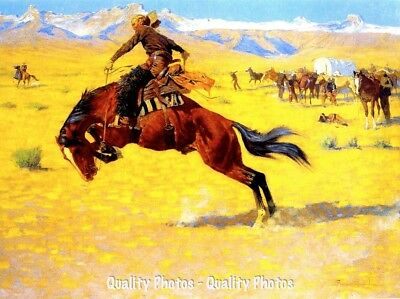 "Cowboy on Bucking Horse 8.5x11"" Photo Print Frederic Remington Wild West Artwork"