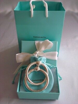 TIFFANY 1837 sterling silver~NEW~DOUBLE RATTLE BABY TEETHING RING box,pouch,card