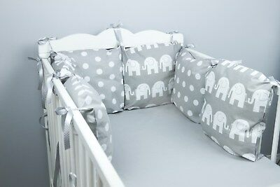 PILLOW BUMPER COT / COT BED BUMPER made from 6 cushions GREY DOTS soft pillows