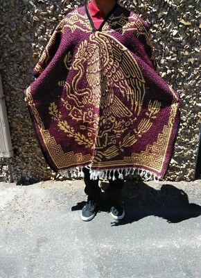 Mexican Poncho , Eagle , Mexico  , Blanket Gaban  , One Size Fit All , Burgundy