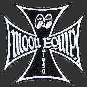 Black Moon Mooneyes Iron cross Patch Sew or on Hotrod cool jacket shirt work rod