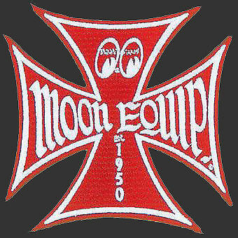 Red Moon Mooneyes Iron cross Patch Sew or on Hotrod cool jacket shirt work rod