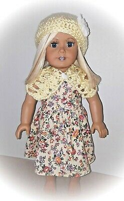 18 Inch Doll Dress, Hat And Shrug, Made In Usa, Fits American Girl Doll $Reduced