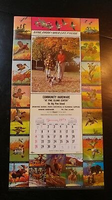 Vtg  ORIGINAL  CALENDAR TOP SALESMAN SAMPLE   GAME BIRDS & WILDLIFE  #98 hunting