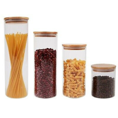 Glass Food Canister Jar With Natural Bamboo Lid Silicone Ring & Airtight Sealing