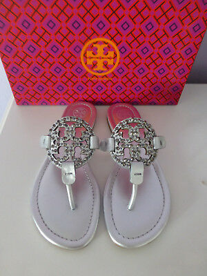 b8f24d3036875 NIB Tory Burch Miller Embellished Crystal Stud Leather Sandal Silver 5.5   228