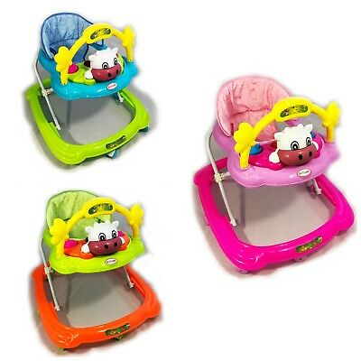 Baby Walker First Steps Push Along Bouncer Activity Cow Music Ride On Girls Boys