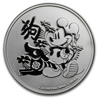 1 oz silver mickey mouse. Disney lunar year of the dog! 2018.BU..999 pure!