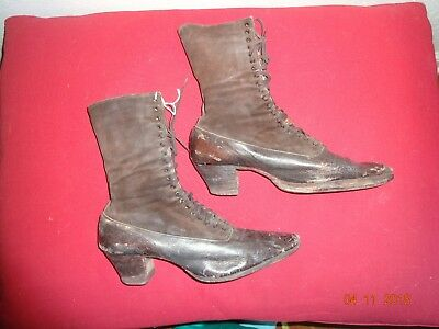 Antique early 1800's ladies pair of brown boots leather Sorosi Lace up RARE!