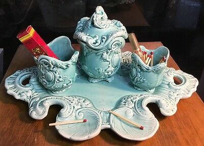 """Antique French Ladies Majolica """"Smoking"""" Set found in Nancy, France"""