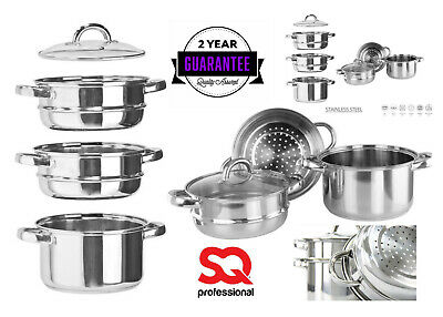 3 Tier Stainless Steel 20cm Multi Steamer Set Veg Cooker Stockpot LSTR Glass Lid