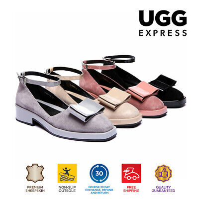 EVER UGG Kitty Womens Flat Heels Kid Suede Shoes Square Toe Ankle Strap Bow