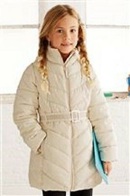 BNWT NEXT Girls Cream  Padded Jacket Coat With Belt & Hood 3-4 & 13-14 Year