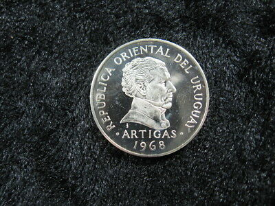 "1 SILVER proof world PATTERN coin URUGUAY 10 pesos 1968 KM#Pn83 ""coral flower"""