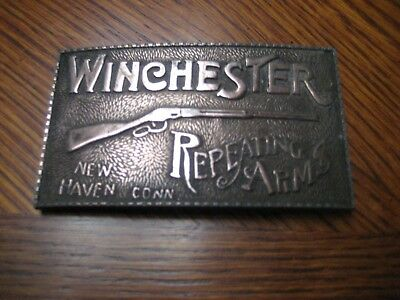 Vintage Rifle Gun Winchester Repeating Arms New Haven Conn Belt Buckle