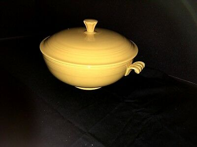 Vintage 1930's Yellow Fiestaware Covered Casserole Bowl with Lid