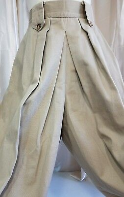 Women's Size 6-8 Culottes Tan Split Skirt Long Modest Side Pockets Button Close