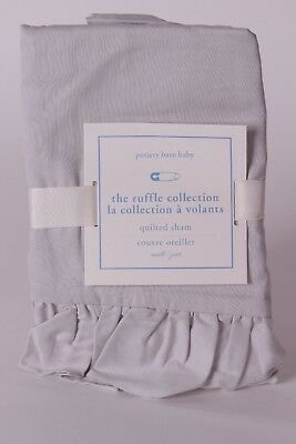 NWT Pottery Barn Kids The Ruffle Collection nursery small sham crib gray