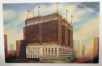 Palmer House Hotel in Chicago ILLINOIS 1950 Vintage Linen Postcard