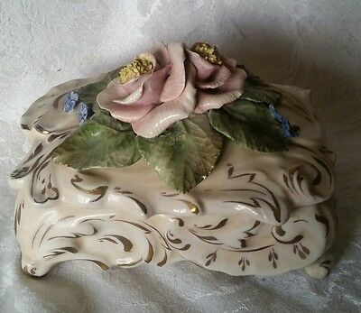 RARE Vintage Cordey Dresser Box with Roses OUTSTANDING CONDITION