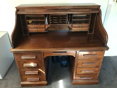 Mahogany Roll Top Desk 1400mmx870mm . 9 Drawers In Base 9 In Top  Excellent Cond