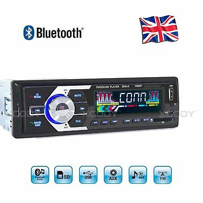 Car Stereo Radio Audio MP3 Player USB FM AUX 1 DIN 4x60W Head Unit Bluetooth UK