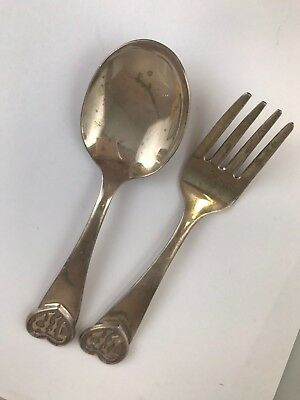 Set of 2 Judaica Sterling Silver Baby Child Fork & Spoon