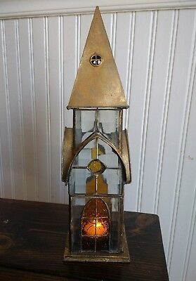 """Vintage Glass Church House Candle Holder 14"""""""