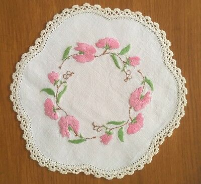 Vintage Hand Embroidered Linen Floral Doily