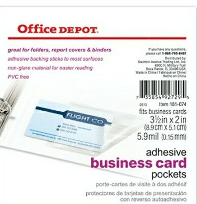 600 TOTAL New Office Depot Brand Adhesive Business Card Pockets 30x20 Packs