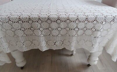 Off White Vintage Hand Crochet Tablecloth 158 X 209Cm.  Gvc. Vic.