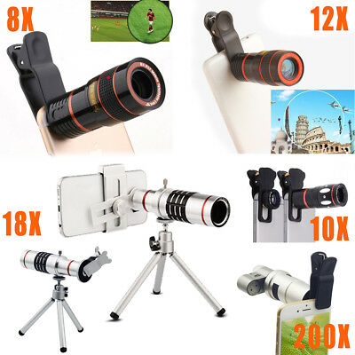 US For iPhone Samsung 8X 10X 12X 18X 200X Zoom HD Camera Lens Telescope Clip On