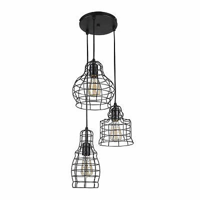 Hanging Cage Cluster Pendant 3-Light Kitchen Ceiling Fixture UL Listed