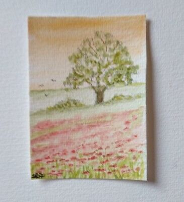 """ACEO art card """" Poppies"""" in watercolour"""