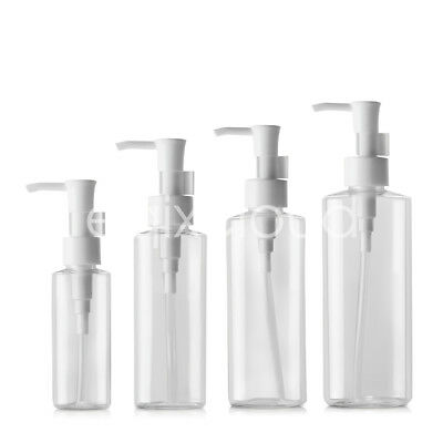 Flat Clear Empty PET Lotion Pump Bottle for Cleansing oil Creme 50ml 100ml 200ml