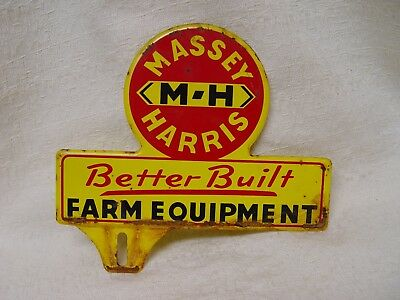 Old Embossed Massey Harris MH Tractors Farm Equipment License Plate Topper Adver