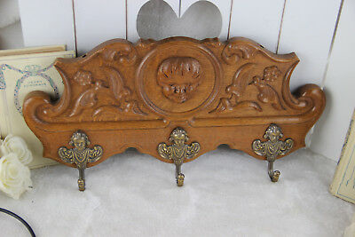 Antique French oak wood carved putti portrait hooks Coat rack 1930