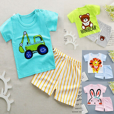 Fashion Kids Baby Boy Girls Summer T-shirt Top + Short Pants Outfits Clothes Set