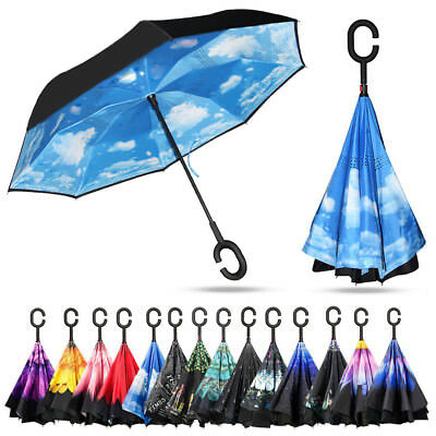 Double Layer Upside Down Inverted Umbrella Reverse Design Umbrella Windproof UK