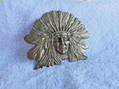 Vintage 70's Large American Indian Head Belt Buckle Cast Brass Sunday Markets