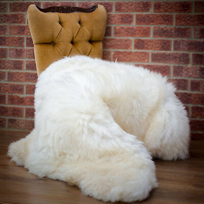 Natural Sheepskin Rug Large. Very fluffy and soft. Shaggy sheep. Giant size
