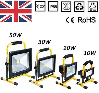 10W 20W 30W 50W Flood Light Portable Rechargeable LED Work Site Light Camping UK