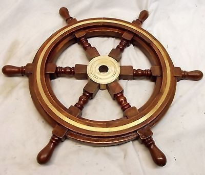 "Vintage Style 18"" Brass & Wood Ship Wheel Nautical Bar Decor Steering Boat"