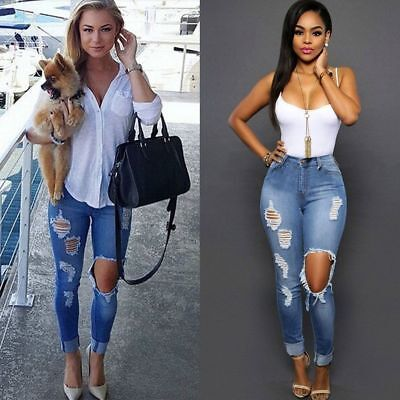 Women Skinny Pencil Denim Jeans Stretch Slim Fitness Pants Trousers High Waist