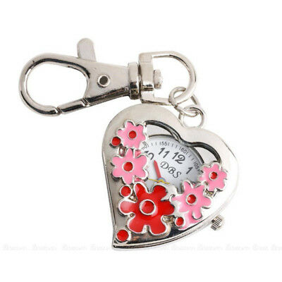 KE_ Heart Shape Quartz Watch Flowers Pocket Watches Stainless Steel Key Ring M