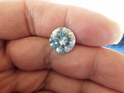 Fiery 6.25 ct White Greenish Sky Blue Color Round Loose Moissanite VVS1 12.17 mm