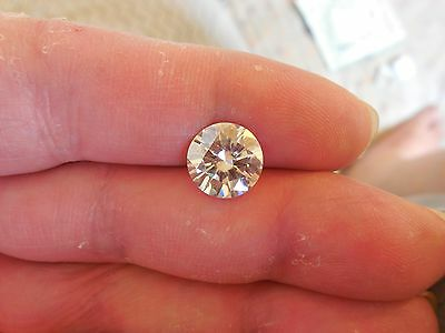 Fiery 3.24 ct Yellow Tint White I-K Color Round Loose Moissanite VVS2 9.75 mm