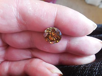Fiery 4.78 ct Champagne Color Round Loose Moissanite VS1 11.20 mm