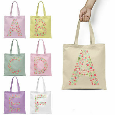 Personalised Floral Alphabet Tote Bag Any Letter Shopper Birthday Gift Present
